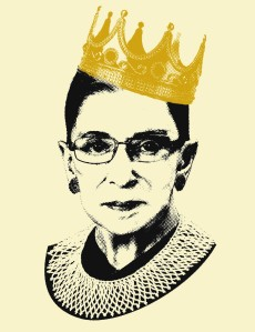 Ruth Bader Ginsburg wearing a golden crown